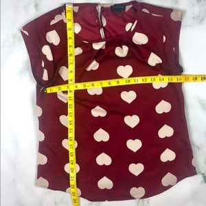 THE LIMITED Red and White Heart Silky Blouse